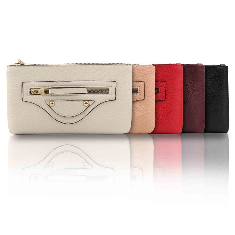 Otto Angelino Designer Women__ Zippered Leather Clutch Purse