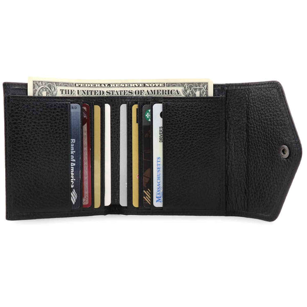 Otto Angelino Genuine Leather Envelope Style Wallet - Black