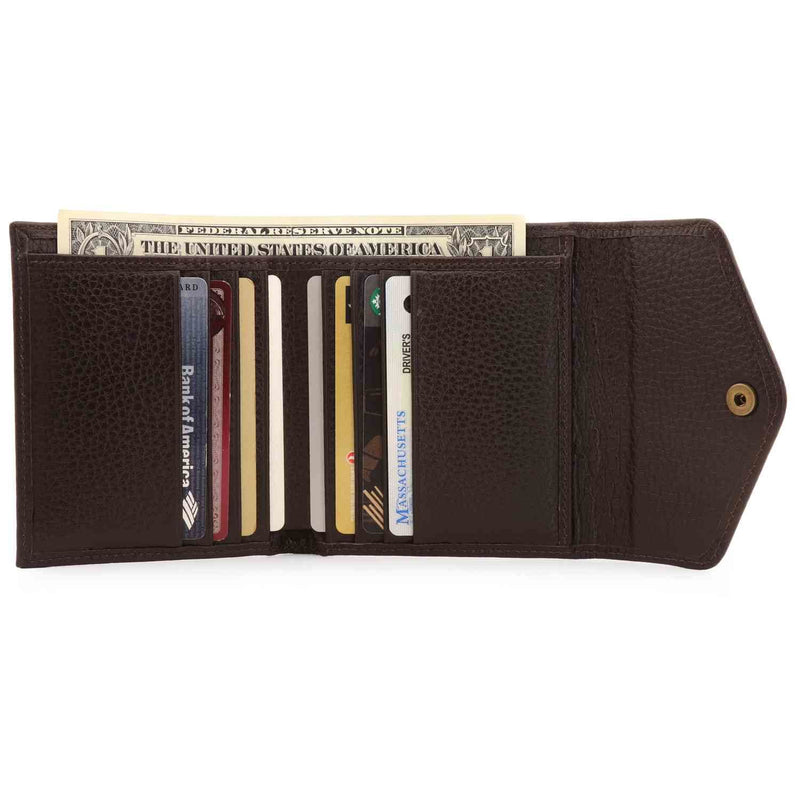 Otto Angelino Genuine Leather Envelope Style Wallet - Brown