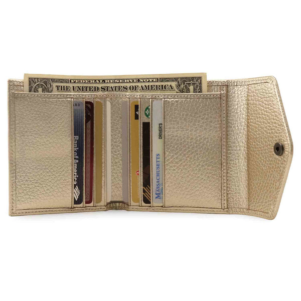 Otto Angelino Genuine Leather Envelope Style Wallet - Gold