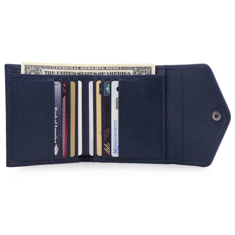 Otto Angelino Genuine Leather Envelope Style Wallet - Navy