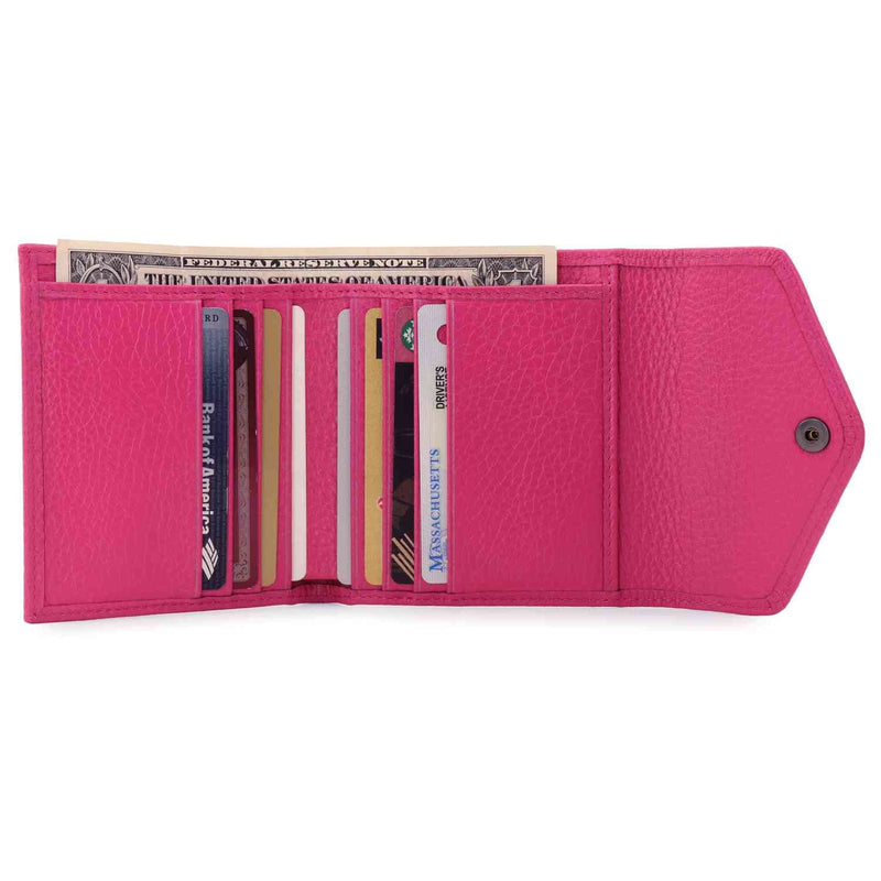 Otto Angelino Genuine Leather Envelope Style Wallet - Pink