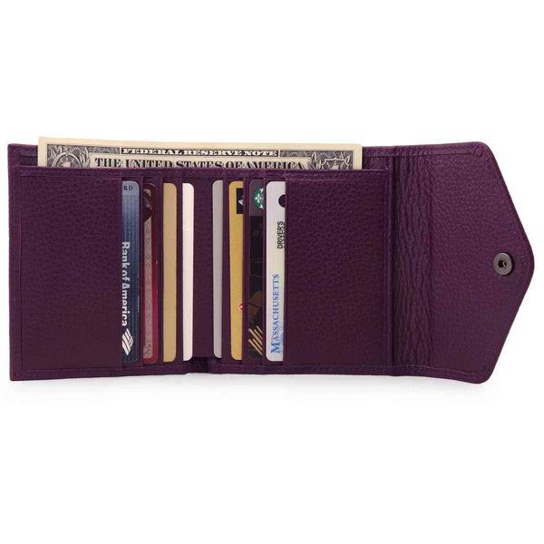 Otto Angelino Genuine Leather Envelope Style Wallet - Purple
