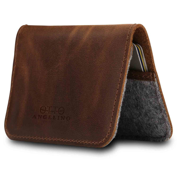 Otto Angelino Genuine Leather Minimalist Wallet - Bank Cards