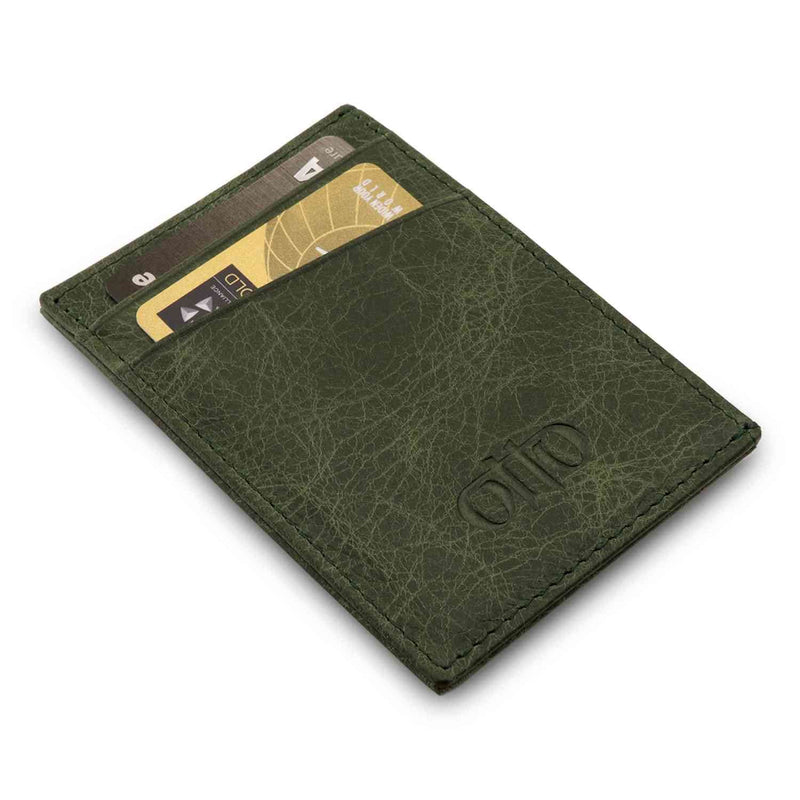 Otto Angelino Genuine Leather Minimalist Wallet Bank Cards
