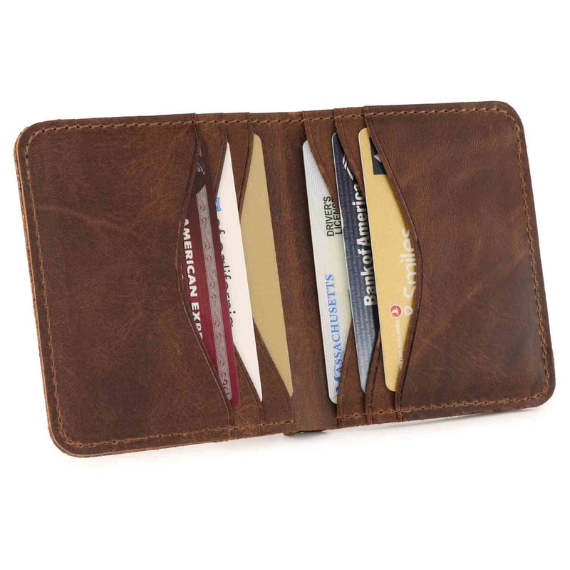 Otto Angelino Genuine Leather Ultra Slim Bifold Card and