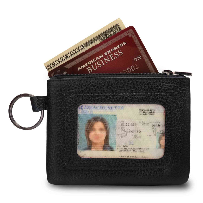 Otto Angelino Genuine Leather Zippered ID Wallet with Wrist