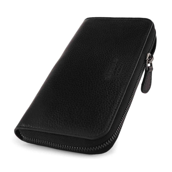 Otto Angelino Leather Zippered Clutch with Phone Compatible