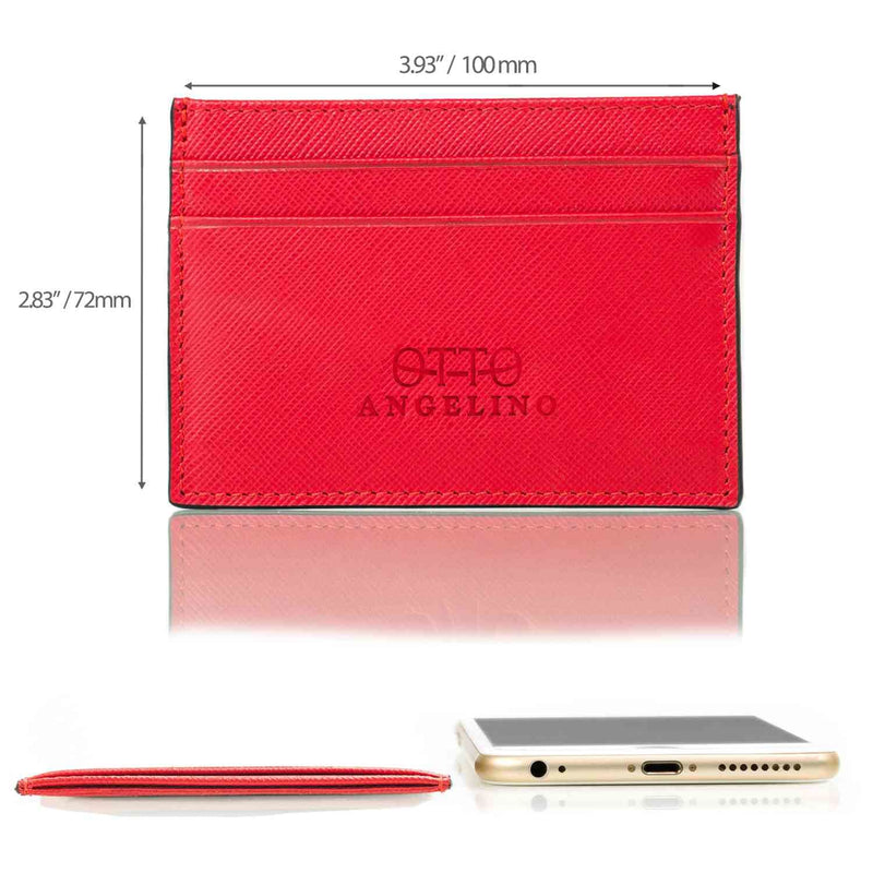 Otto Angelino Slim Genuine Leather Card Holder Wallet for