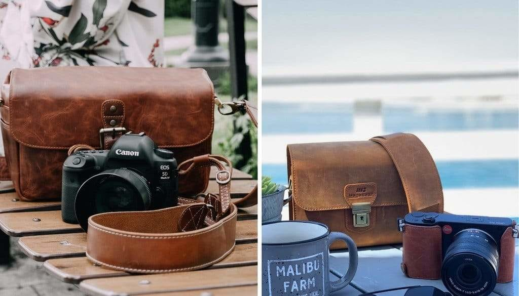 Genuine Leather Camera Messenger Bag for Mirrorless, Instant and DSLR Cameras
