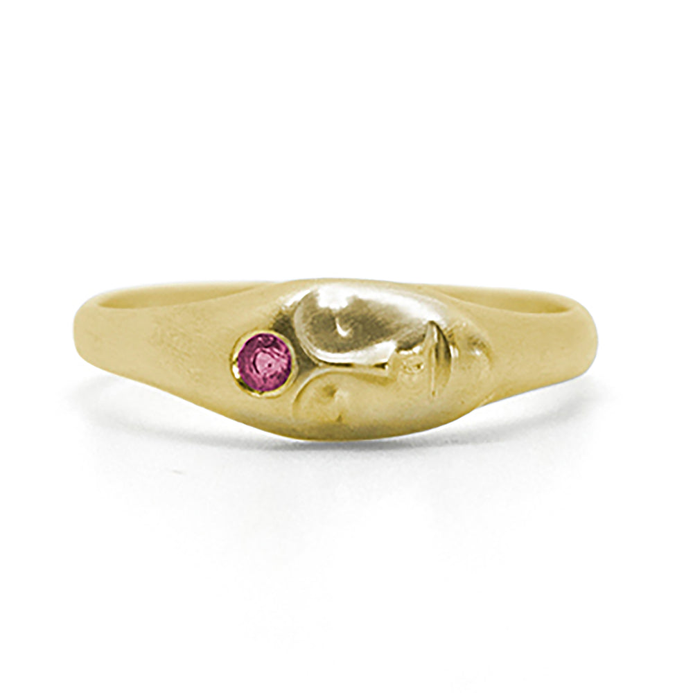 Little Durga Cameo Ring with Ruby by Hannah Blount