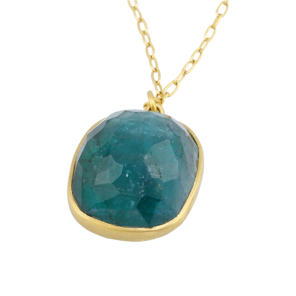Blue Tourmaline Cushion Pendant