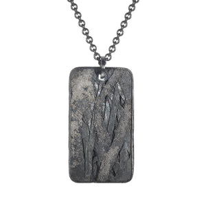 Palladium and Silver Dog Tag Pendant by Todd reed