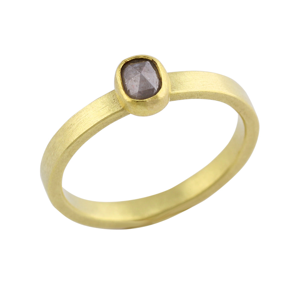 Gold Band with Oval Diamond