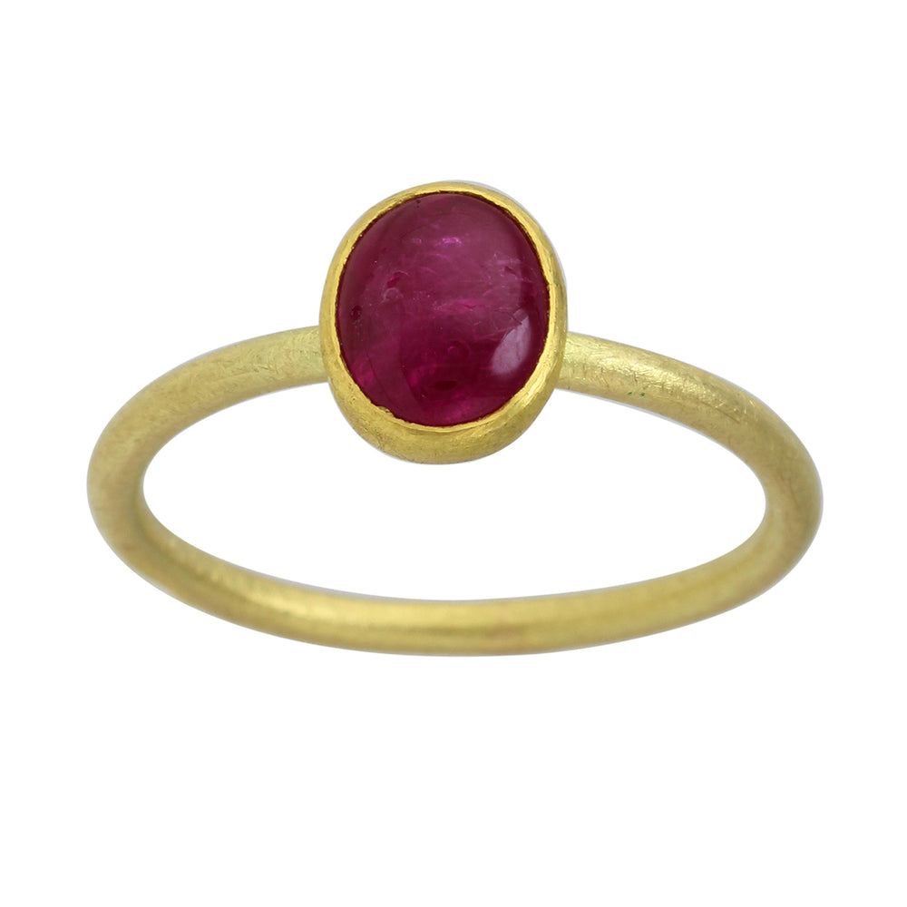 Gold Ring with Oval Ruby Cabochon