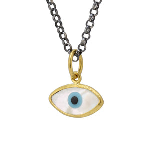 Mother of Pearl Evil Eye Pendant by Prehistoric Works