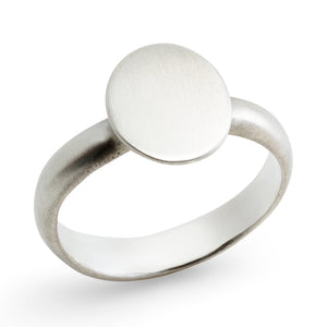 Vertical Oval Signet Ring Sterling Silver, by Betsy Barron Jewellery