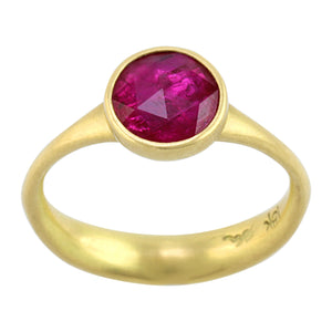 Round Rose Cut Ruby Ring