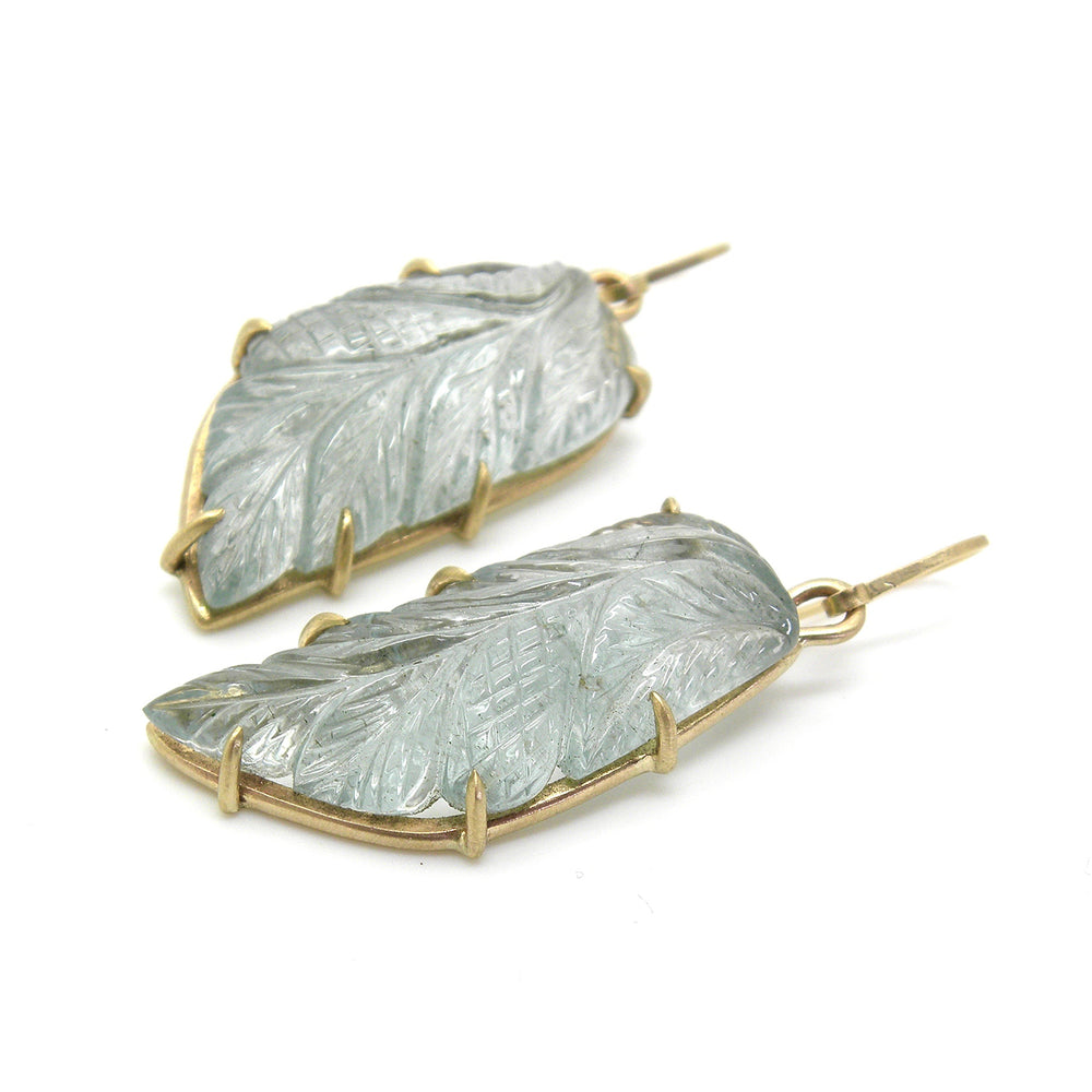 Carved Aquamarine Alkonost Earrings by Hannah Blount