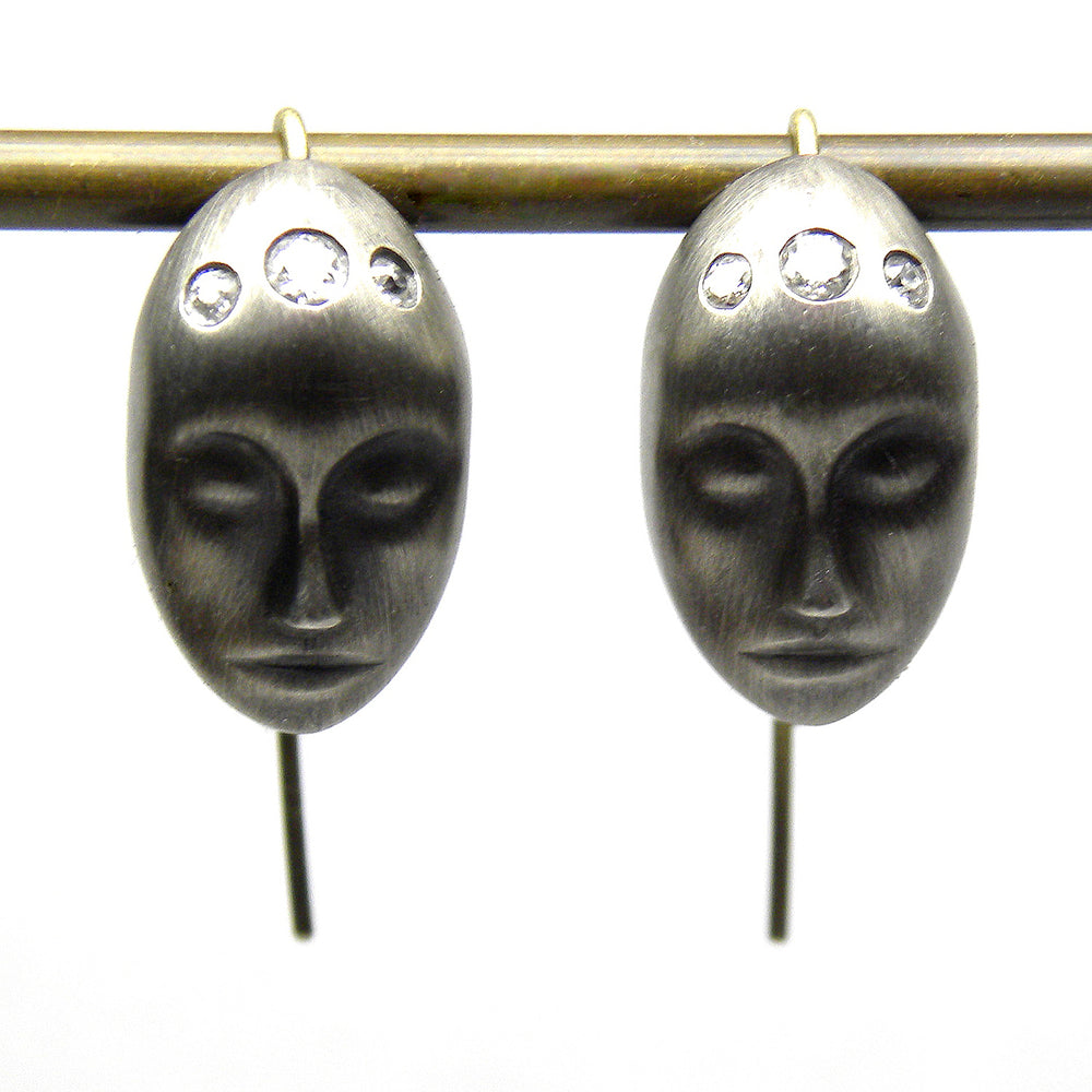 Load image into Gallery viewer, Large Grey Lady Earrings by Hannah Blount