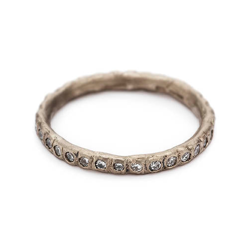 Beaded Eternity Band - White