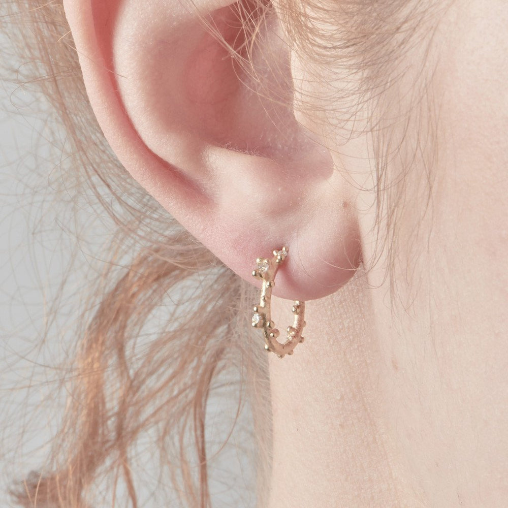 Small Diamond Encrusted Gold Hoops