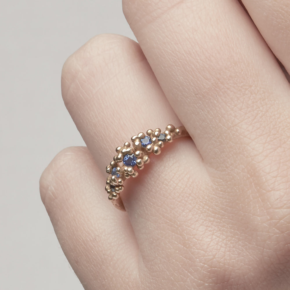 Small Sapphire Ring with Granules by Ruth Tomlinson