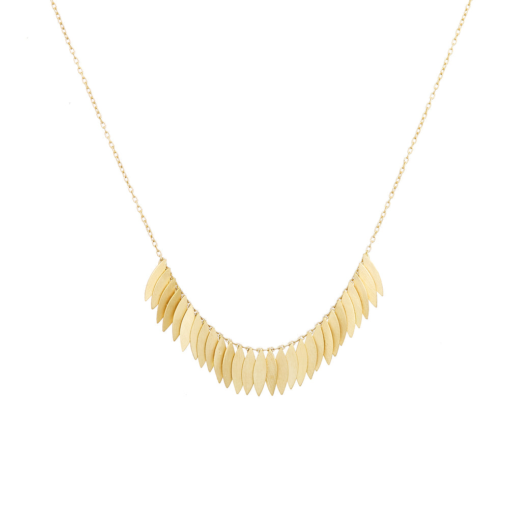 Golden Leaf Arc Necklace