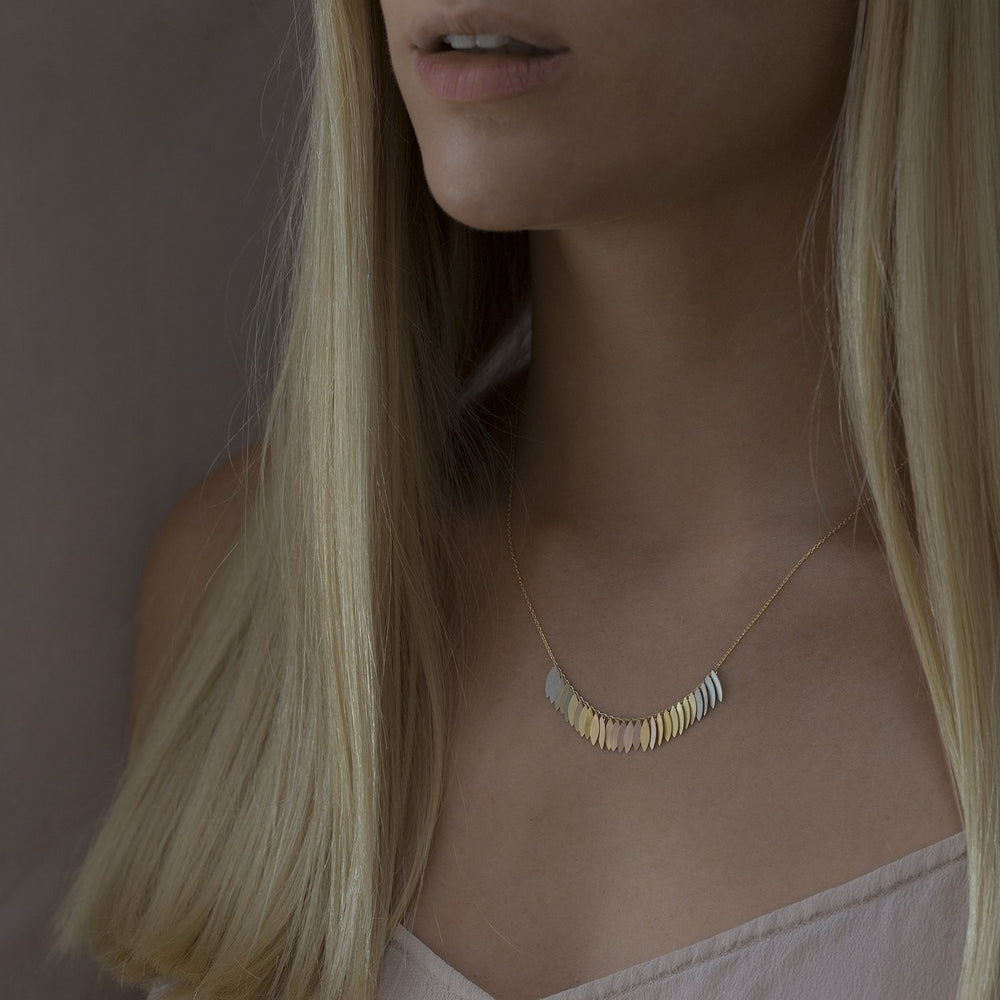 Load image into Gallery viewer, Rainbow Gold Leaf Arc Necklace by Sia Taylor