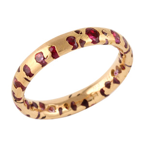 Narrow Confetti Band with Red Sapphires by Polly Wales