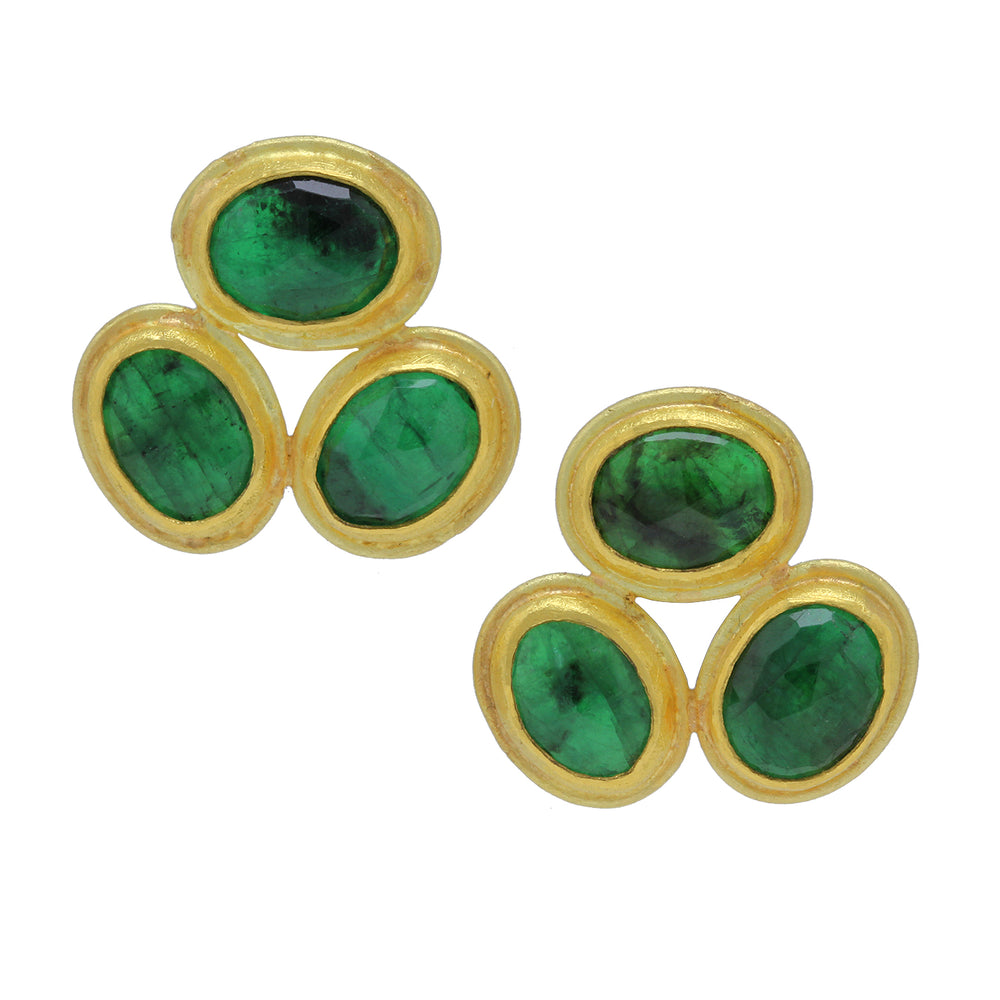 Framed Emerald Oval Earrings