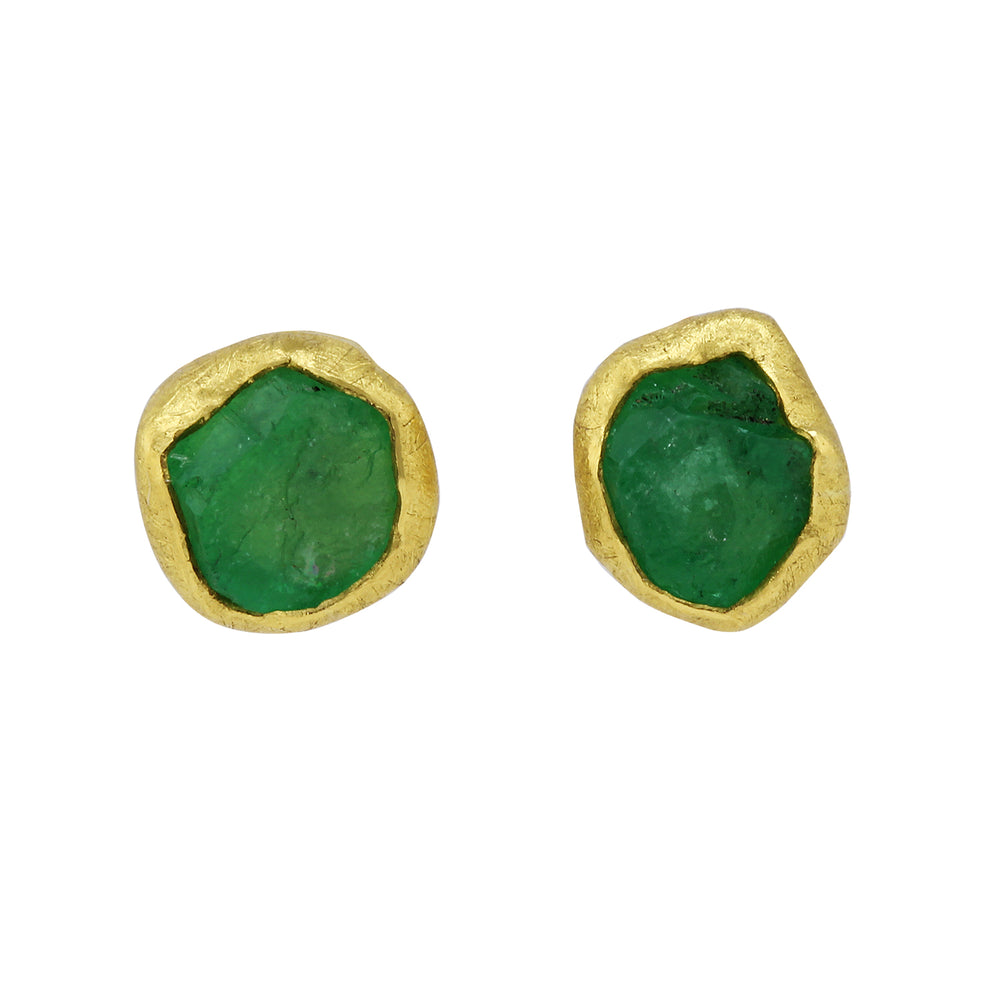 Rough Crystal Emerald Earrings