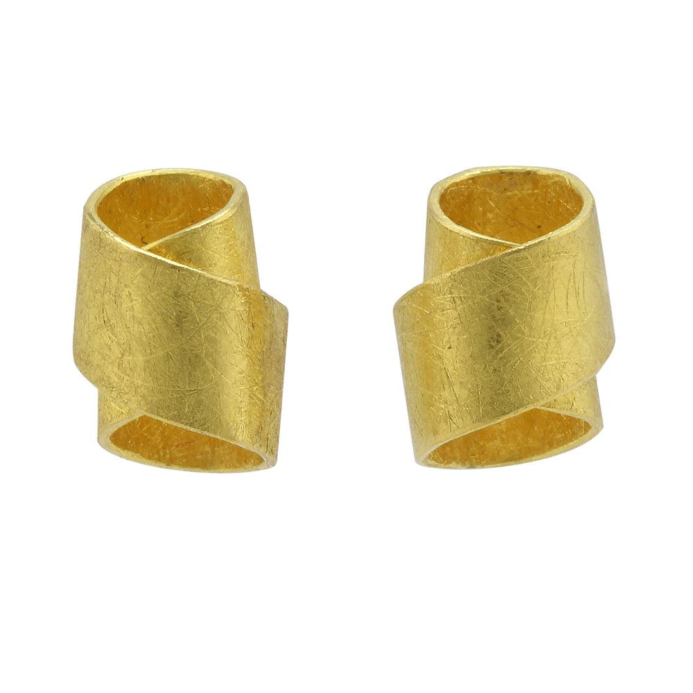 Gold Ribbon Post Earrings