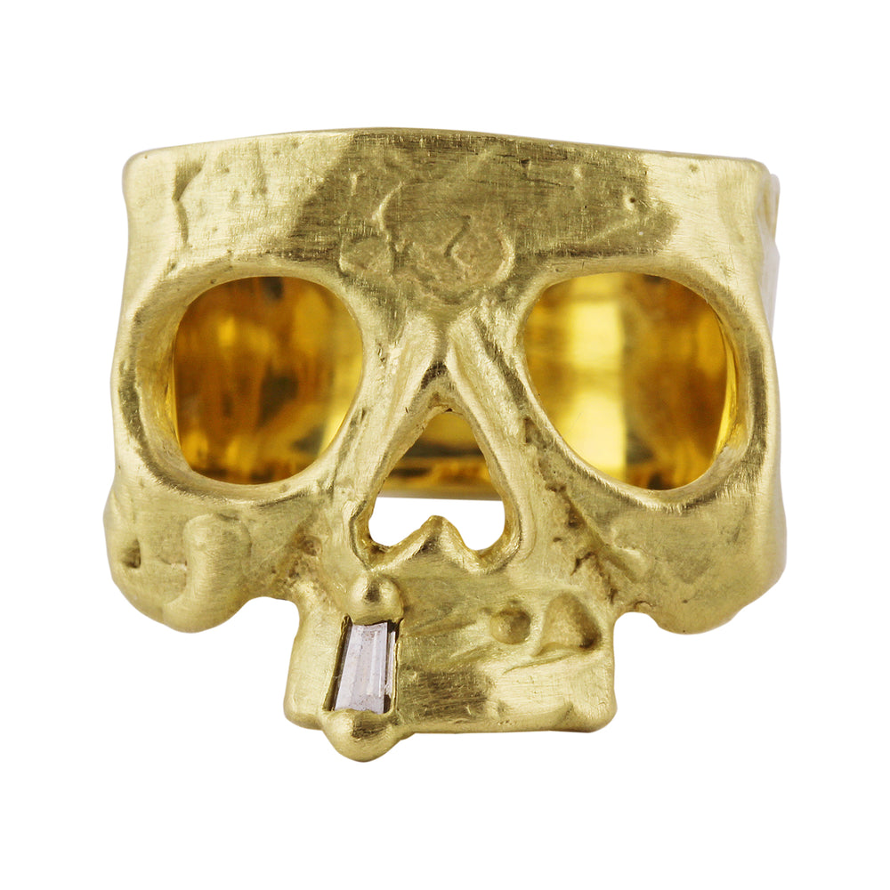 Skull Ring with Diamond Snaggletooth
