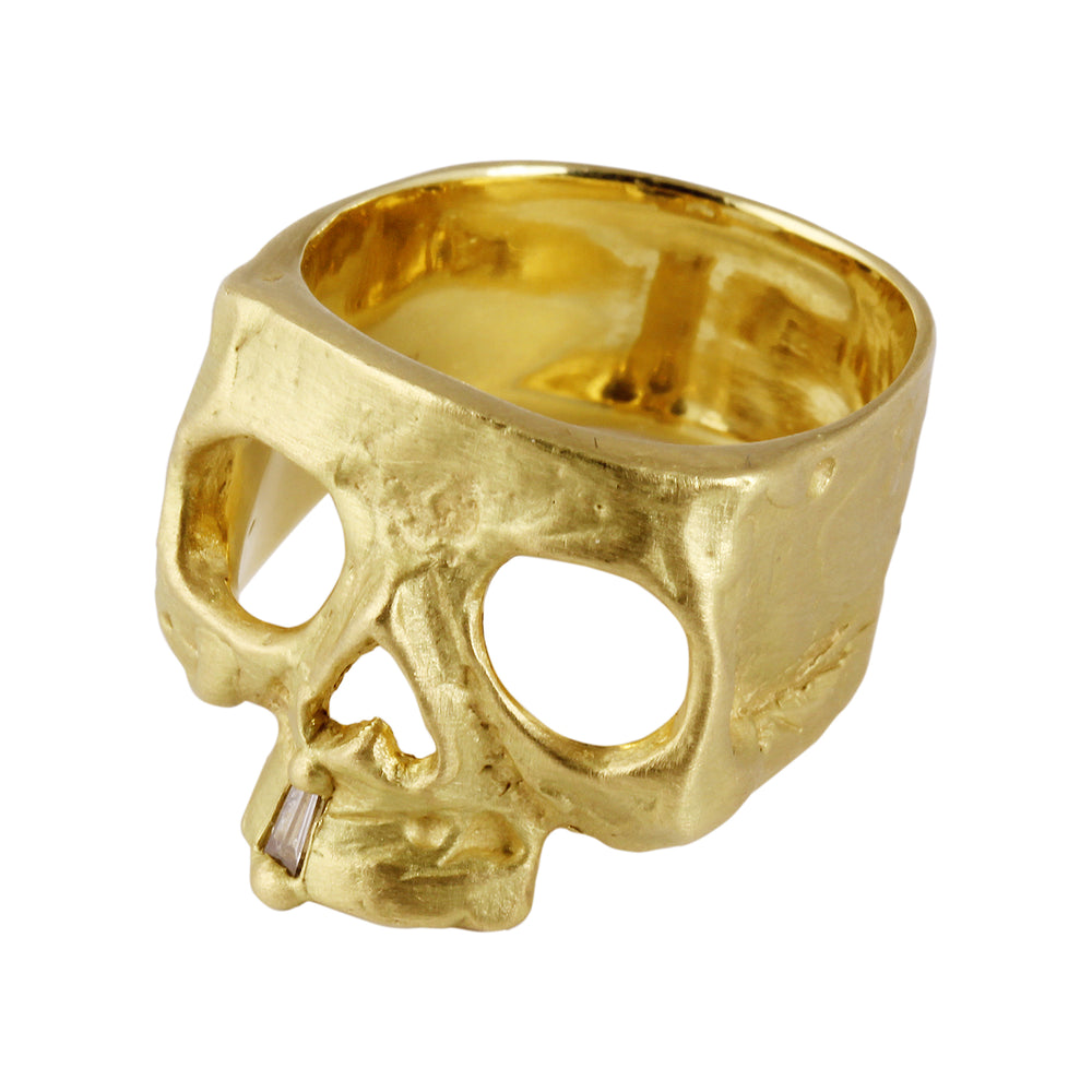 Load image into Gallery viewer, Skull Ring with Diamond Snaggletooth by Polly Wales
