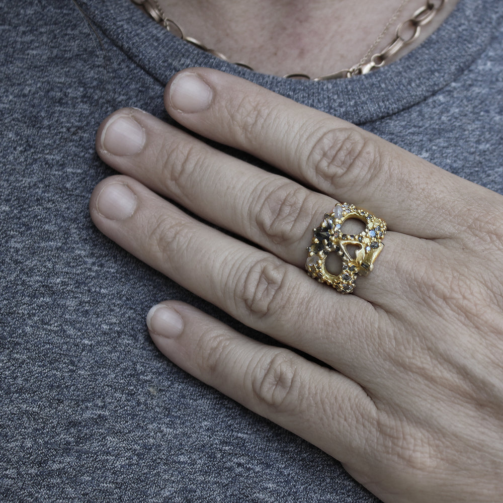 Autumn Moon Skull Ring by Polly Wales