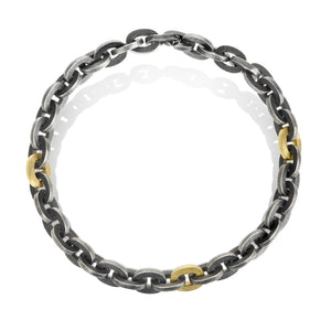 Link Bracelet with Silver/Gold/Diamond