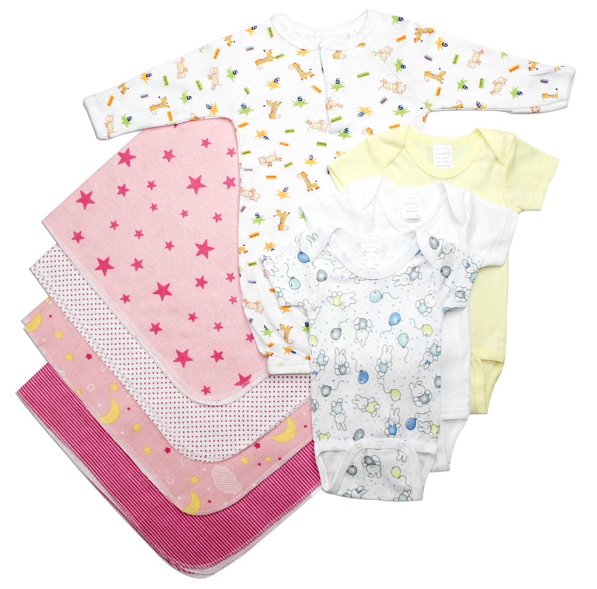 Bambini Newborn Baby Girls 8 Pc Layette Baby Shower Gift Set
