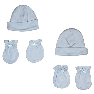 Bambini Boys' Cap and Mittens 4 Piece Layette Set