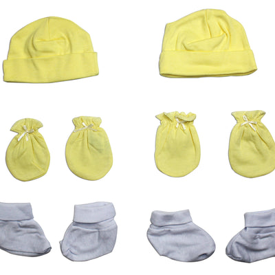 Bambini Neutral Cap, Booties and Mittens 6 Piece Layette Set