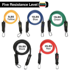 5 Level Fitness Resistance Tube Bands with Buckle - Bak2Bay6Store