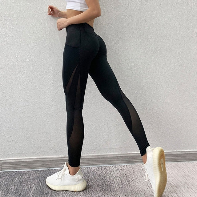 Sculpting High Waist Mesh Panels Yoga Pants With Pockets