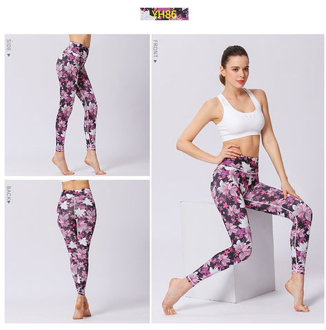 Colorfully Printed Moisture Wicking Sports Leggings