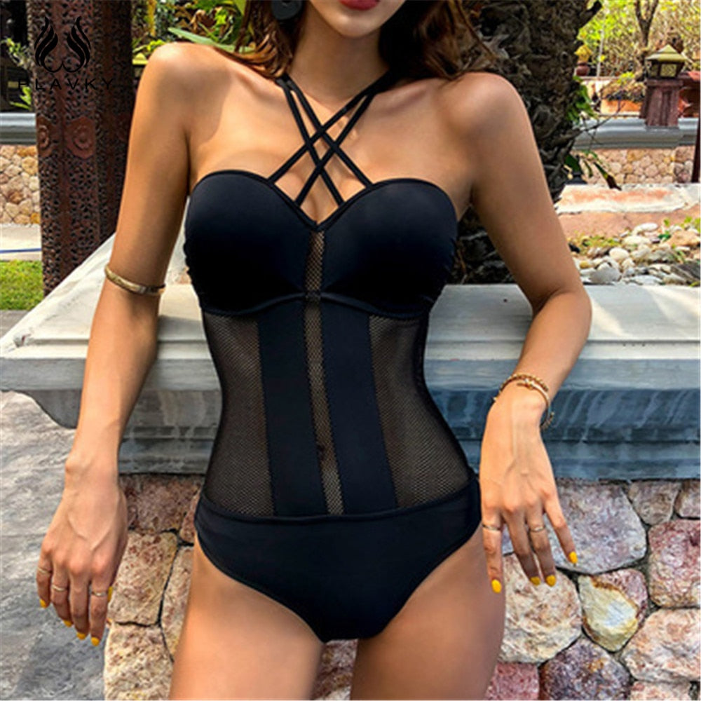Sexy Black Mesh One Piece Swimsuit