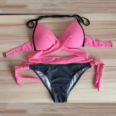 Hot Bikini Crossover Bandage Set by OUTAD - Bak2Bay6Store