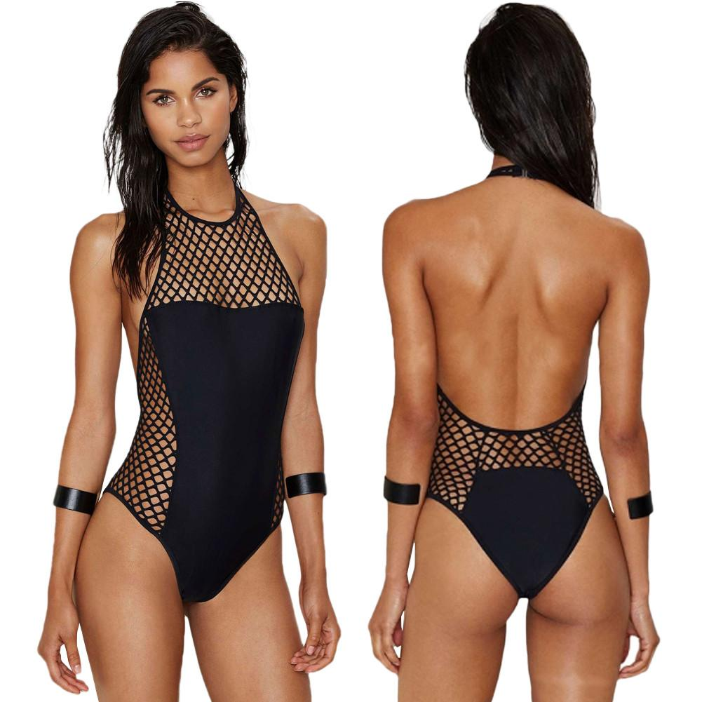 Black Fishnet Monokini Swimsuit with Halter Neck and Open Back with Padded Bra - Bak2Bay6Store