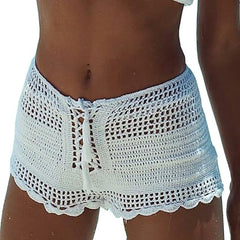Womens Openwork Crochet Shorts