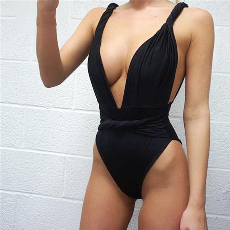 Twist Knot Revealing Low Cut One Piece Swimsuit - Bak2Bay6Store
