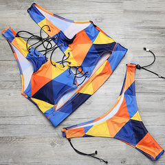 Brazilian Lace Up High Cut Swimsuit -Available in Plus Size