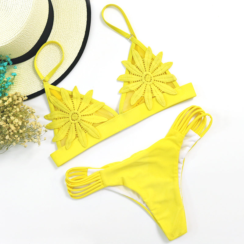 Sexy Embroidered Bikini Set